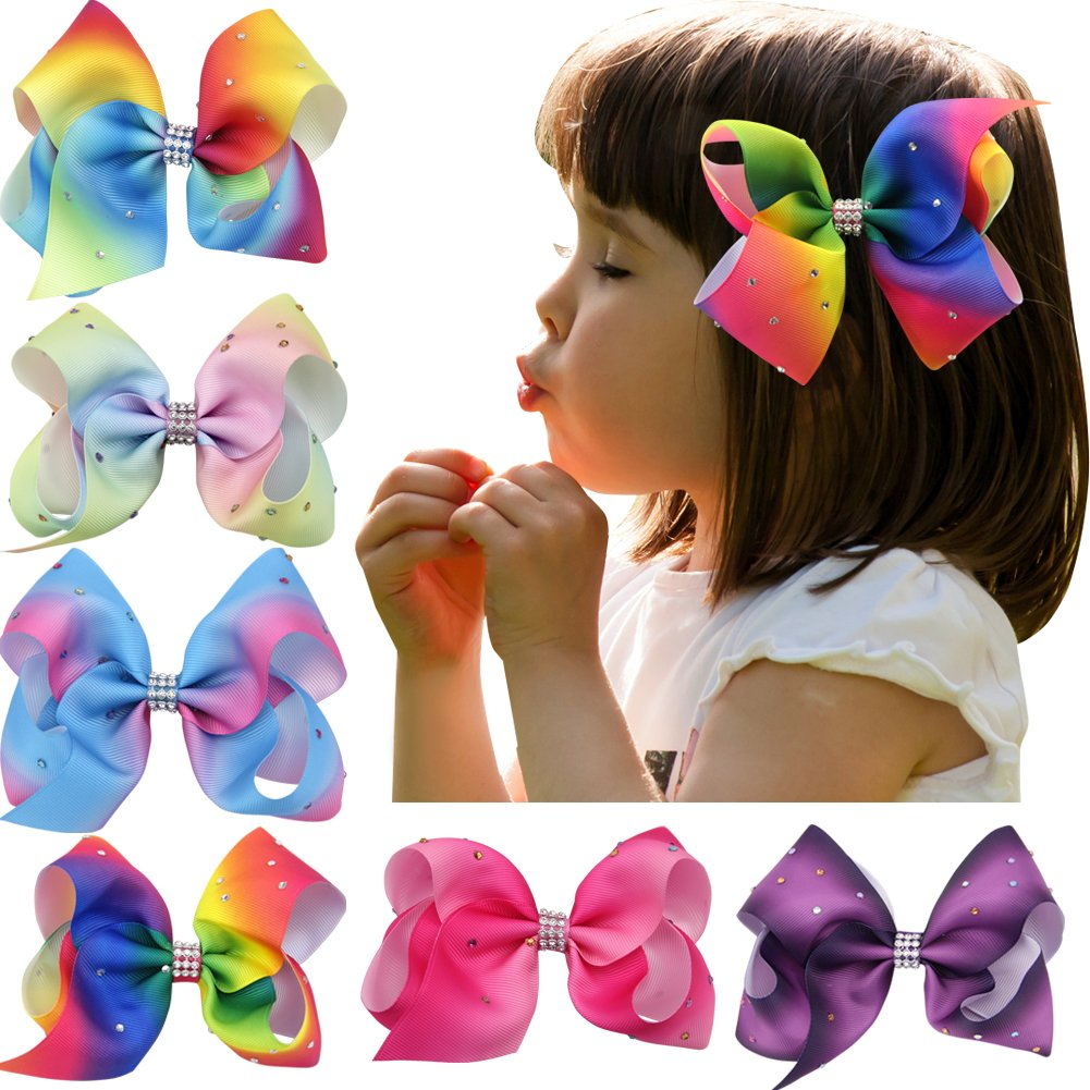 Nancyus005 6pcs 4.5 Rainbow Bow Rhinestone Boutique Hair Bow with Alligator Clips