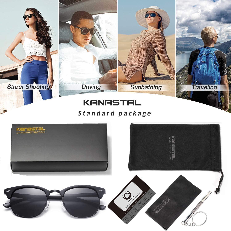 Semi Rimless Polarized Sunglasses for Women Men Unisex Sunglasses with Half Frame