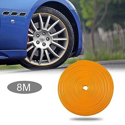 TOMALL 8M Car Wheel Hub Decorative Protection Ring Tire Sticker Guard Strip hub Anti-Collision Strip Wheel Hub Rubber Scratch Prevention (Orange): Automotive