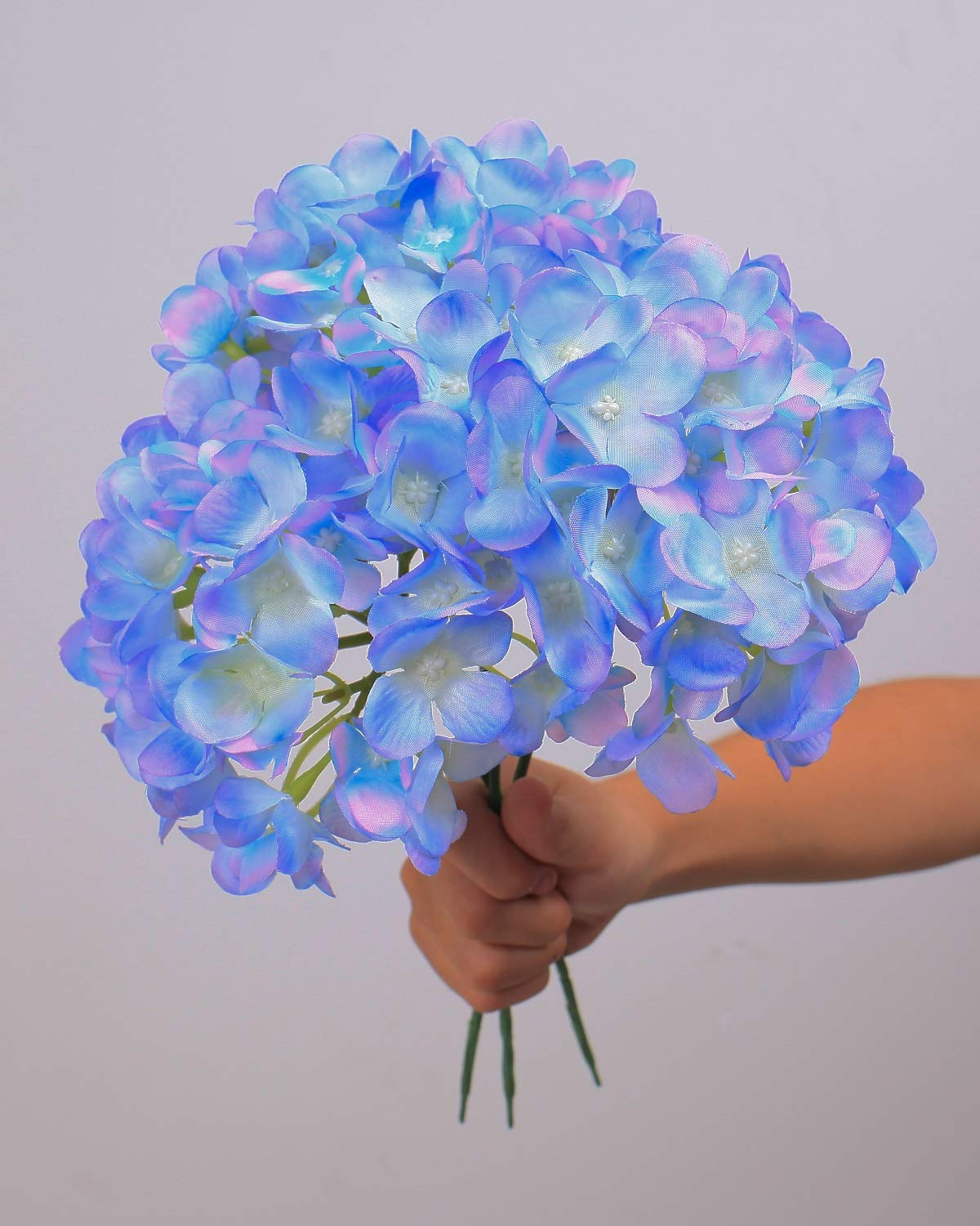 LUSHIDI-Silk-Hydrangea-Heads-with-Stems-Artificial-Flowers-Heads-for-Home-Wedding-DecorPack-of-10