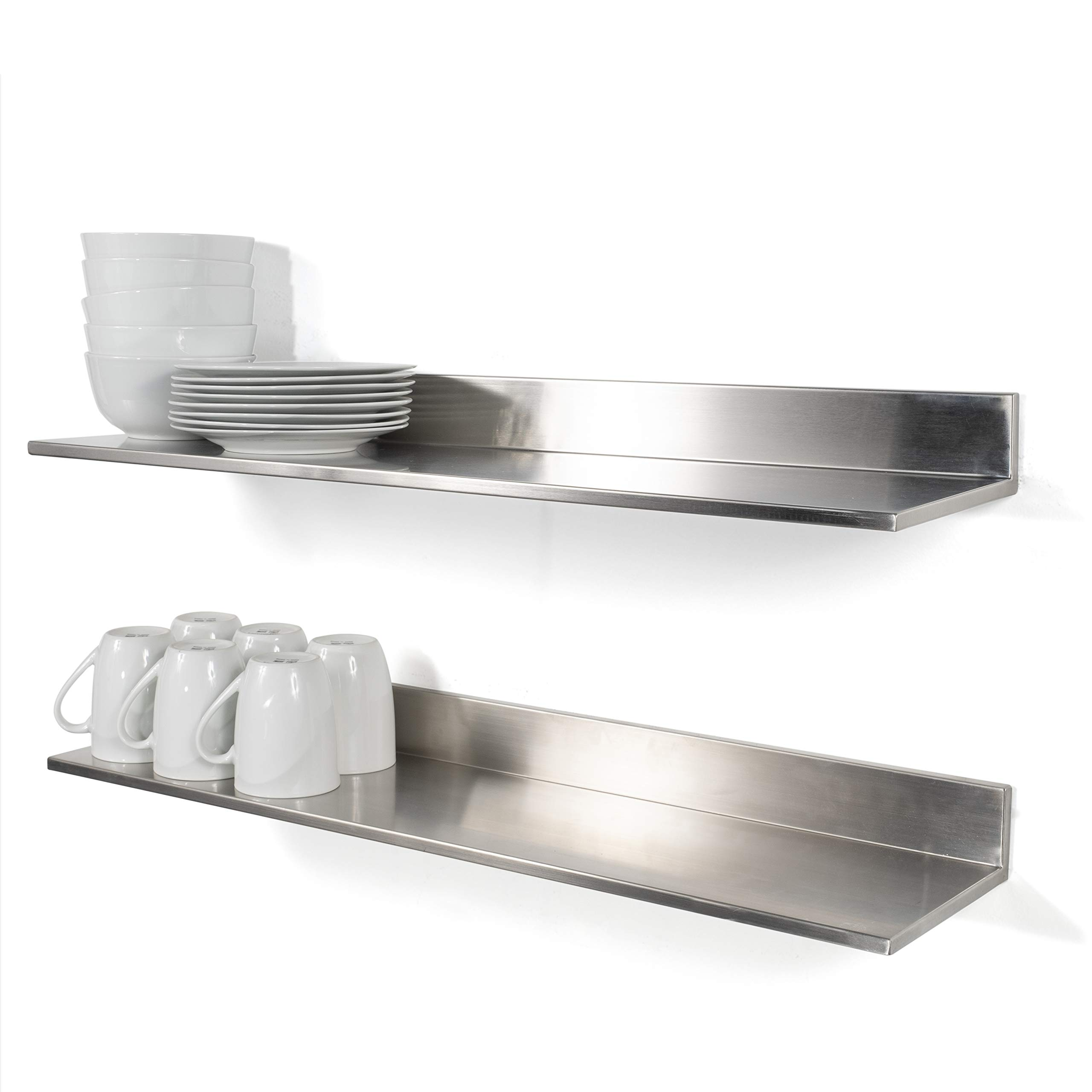 Stainless Steel Wall Mount Commercial and Home Use Premium Quality 30.50 Inches Kitchen Floating Shelves Set of 2 Silver by Fasthomegoods