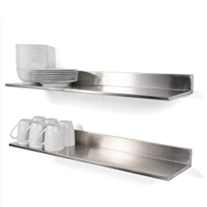 Stainless Steel Wall Mount Commercial and Home Use Premium Quality 30.50 Inches Kitchen Floating Shelves Set of 2 Silver