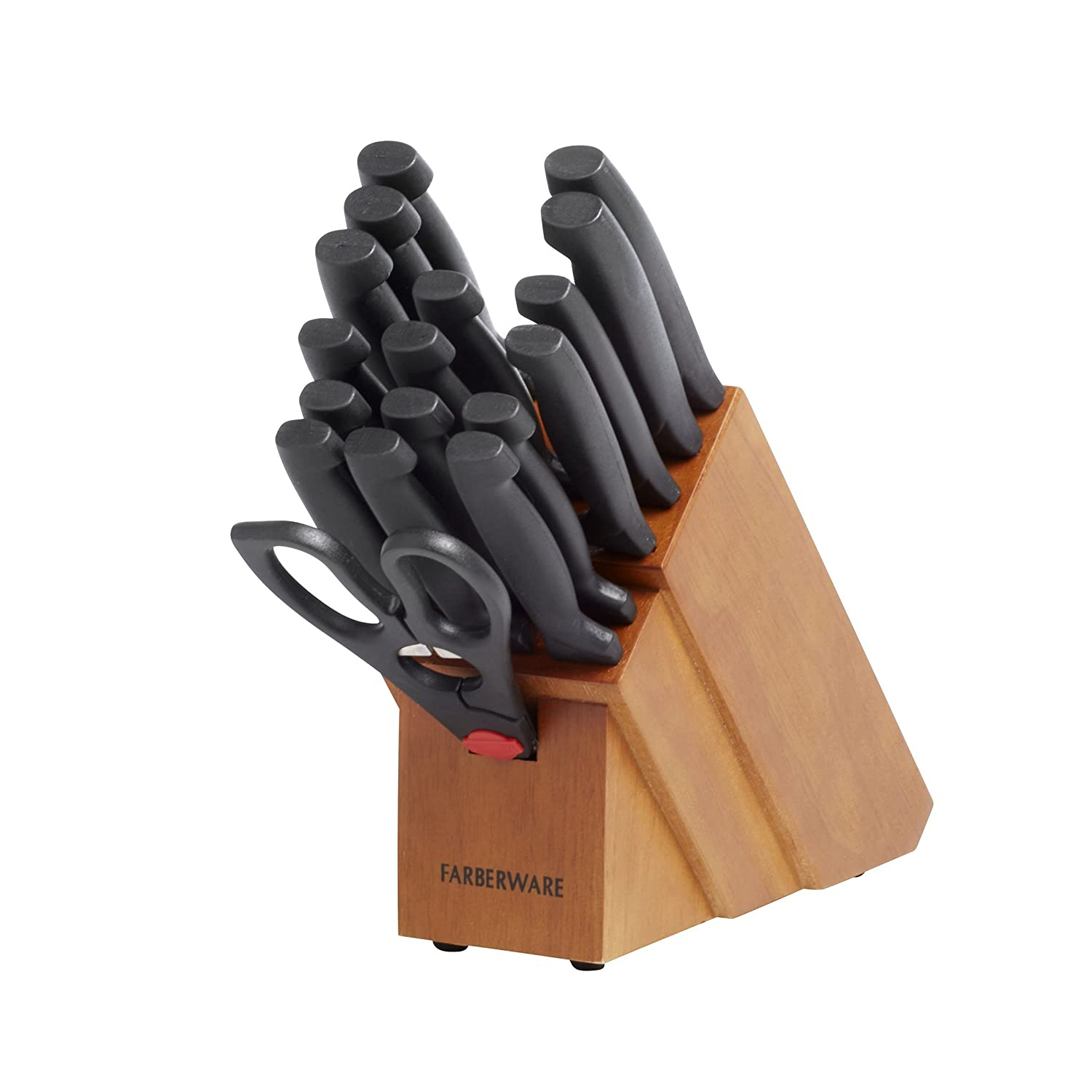 Farberware 5102280 18-Piece Never Needs Sharpening High-Carbon Stainless Steel Knife Block Set with Non-Slip Handles, Natural/Black