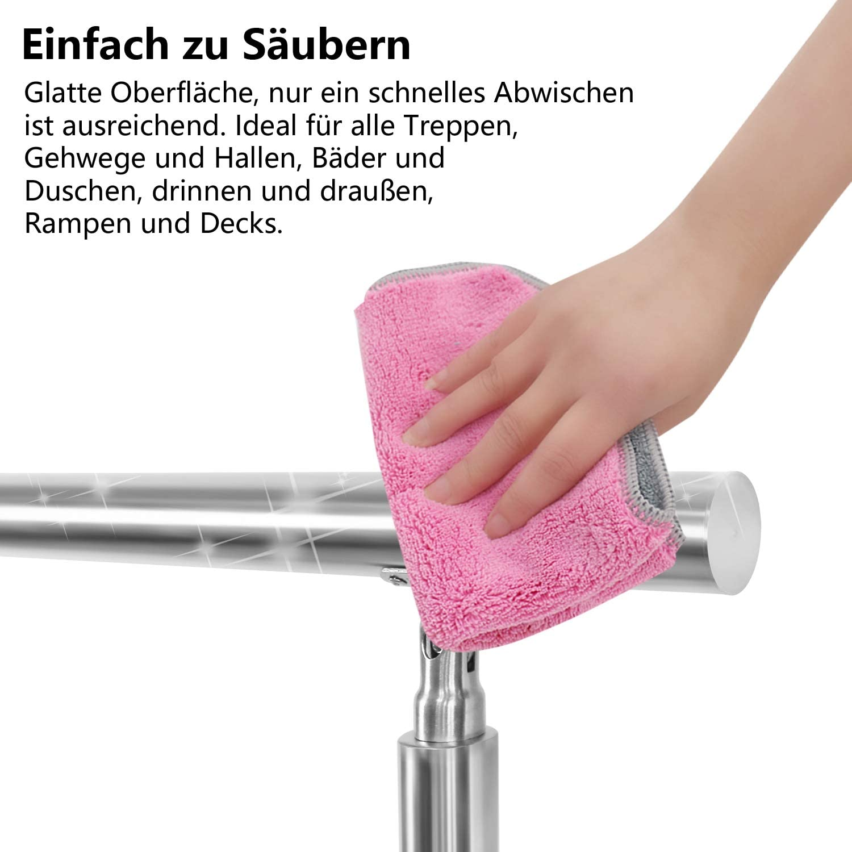 wolketon Treppengel/änder Edelstahl ohne Querst/äbe 100cm Br/üstung Handlauf Gel/änder Treppe