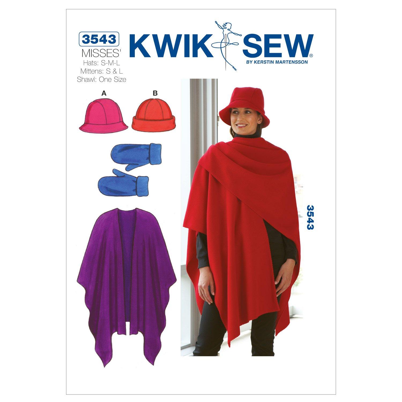 Kwik Sew K3543 Hats Sewing Pattern, Mittens and Shawl McCall Pattern Company K3543OSZ