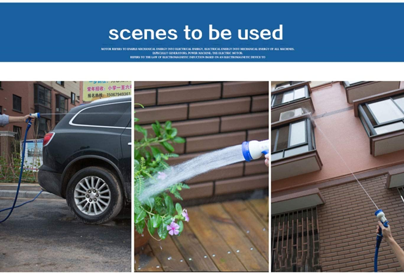 YXZQ Garden Hose, Expandable 6 Functions Spray Gun 3 Times Telescopic Household Car Wash Water Gun for Garden Watering Pet Bath Blue