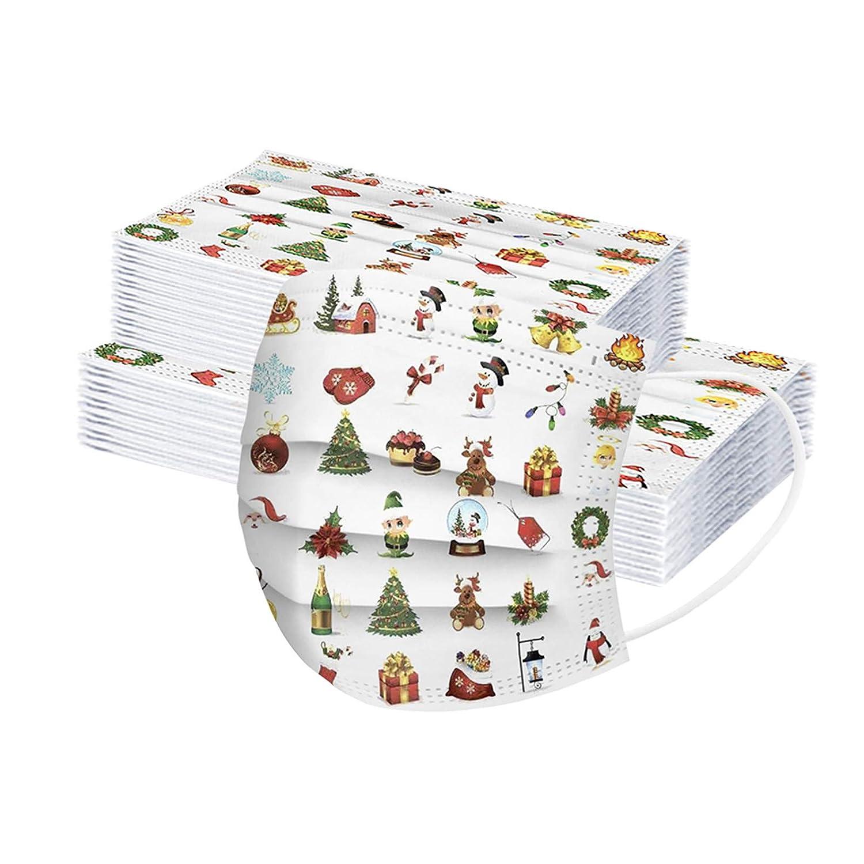 Serria-es 20 Piezas Adulto+30 Piezas Niño Mäscarilla antivirus de Una Sola Vez Impresión 3 Capas de cuadros navideños Protección