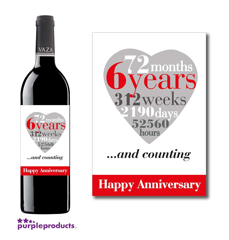Anniversario Matrimonio 6 Anni.Purpleproducts 6th Anniversario Di Matrimonio 6 Anni Wine Label