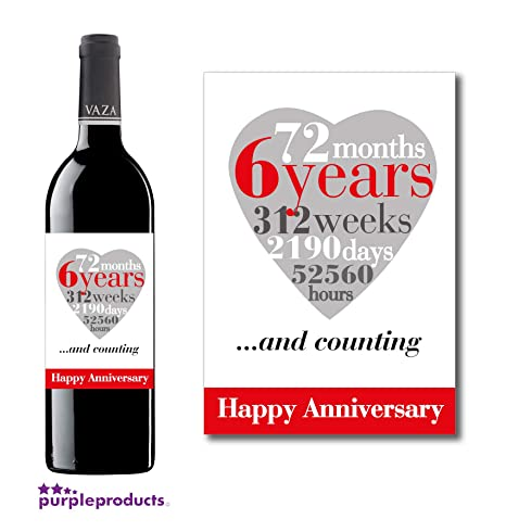 Anniversario Di Matrimonio 6.Purpleproducts 6th Anniversario Di Matrimonio 6 Anni Wine Label