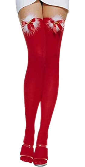 ca4cd3bc7 Image Unavailable. Image not available for. Color  JJ-GOGO Sexy Red Thigh  High Christmas Stockings