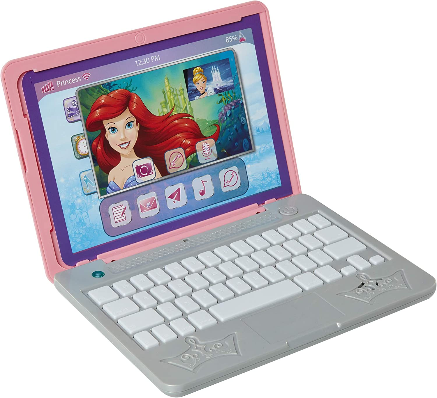 Amazon Com Disney Princess Girls Play Laptop Computer Style Collection Click Go Play Laptop For Girls With Sounds Light Up On Button Features Removable Double Sided Play Background For Ages 3 Toys