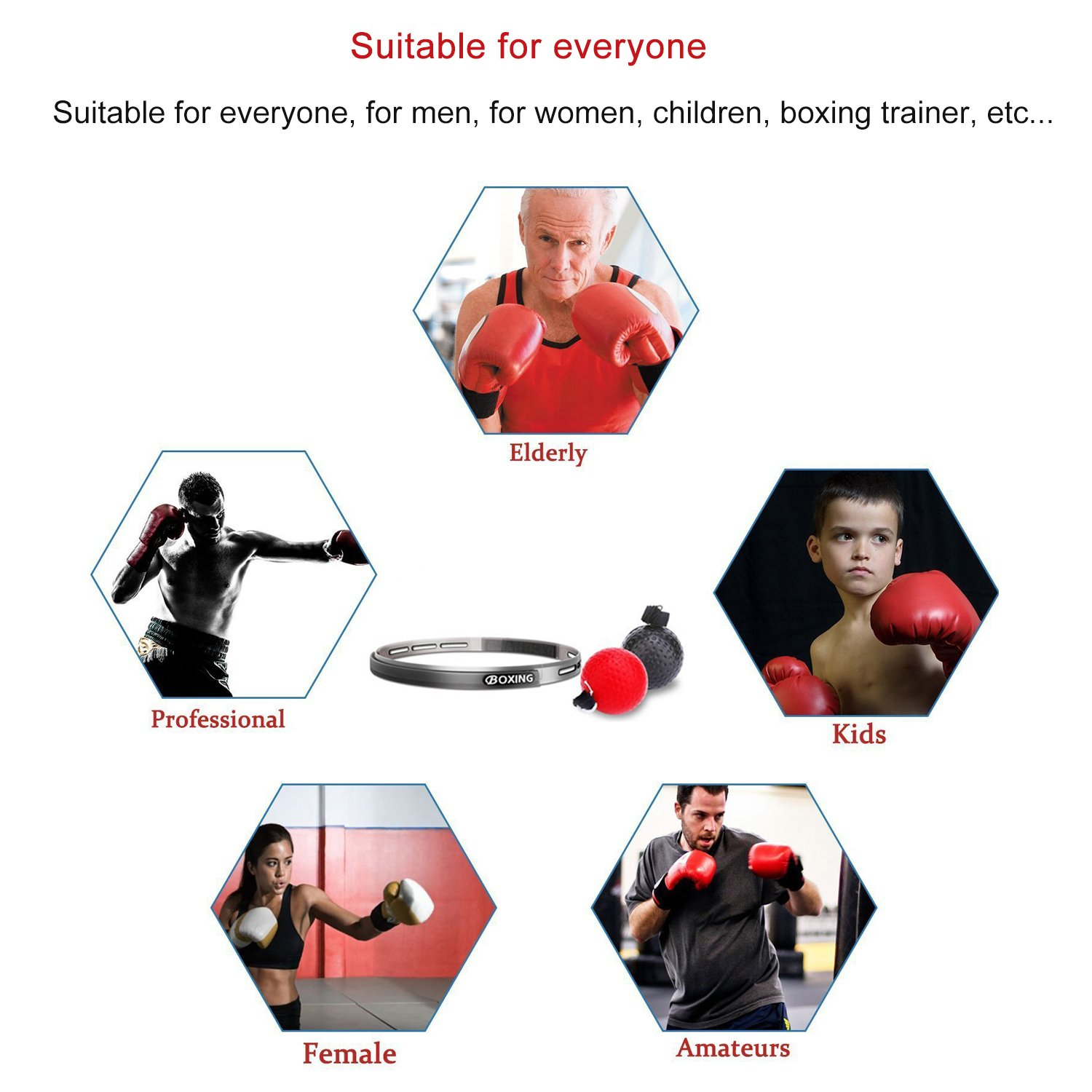 2 Difficulty Level Boxing Punch Ball with Adjustable Headband Training Speed Reactions Improve ASANDH Boxing Reflex Ball Hand Eye Coordination for Adult//Kids Gym Red+Black