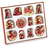 Geschenkartikel-shopping - Set da 12 decorazioni per albero di Natale, in legno, dipinte a mano
