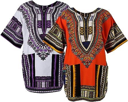 Baoblaze 2X Camisa Africana Dashiki Caftán Étnico Tropical Estilo Holgado Étnico Bordados Geométricos Lindo Florales Ropa Mujer: Amazon.es: Deportes y aire libre