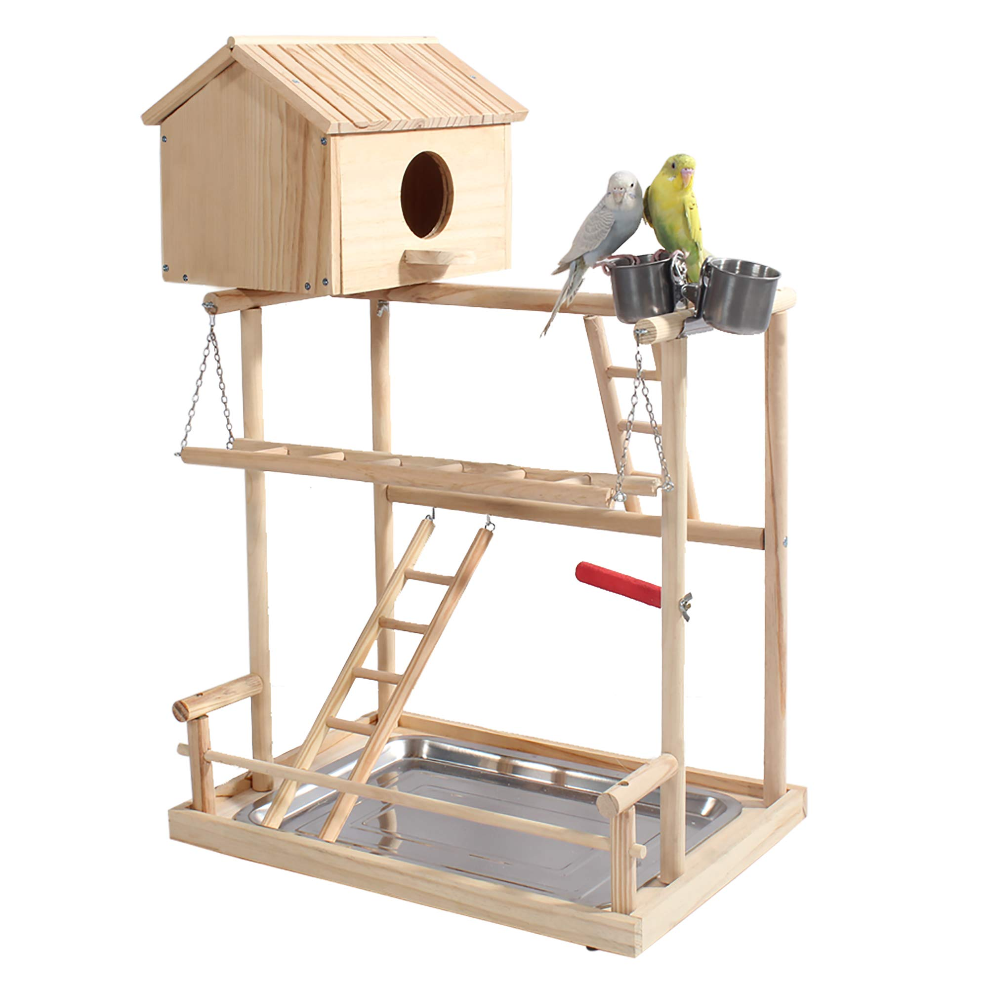 ROCKEVER Parrot Play Stand Bird Playground Cockatiel Gym with Nesting Box and Cups by ROCKEVER