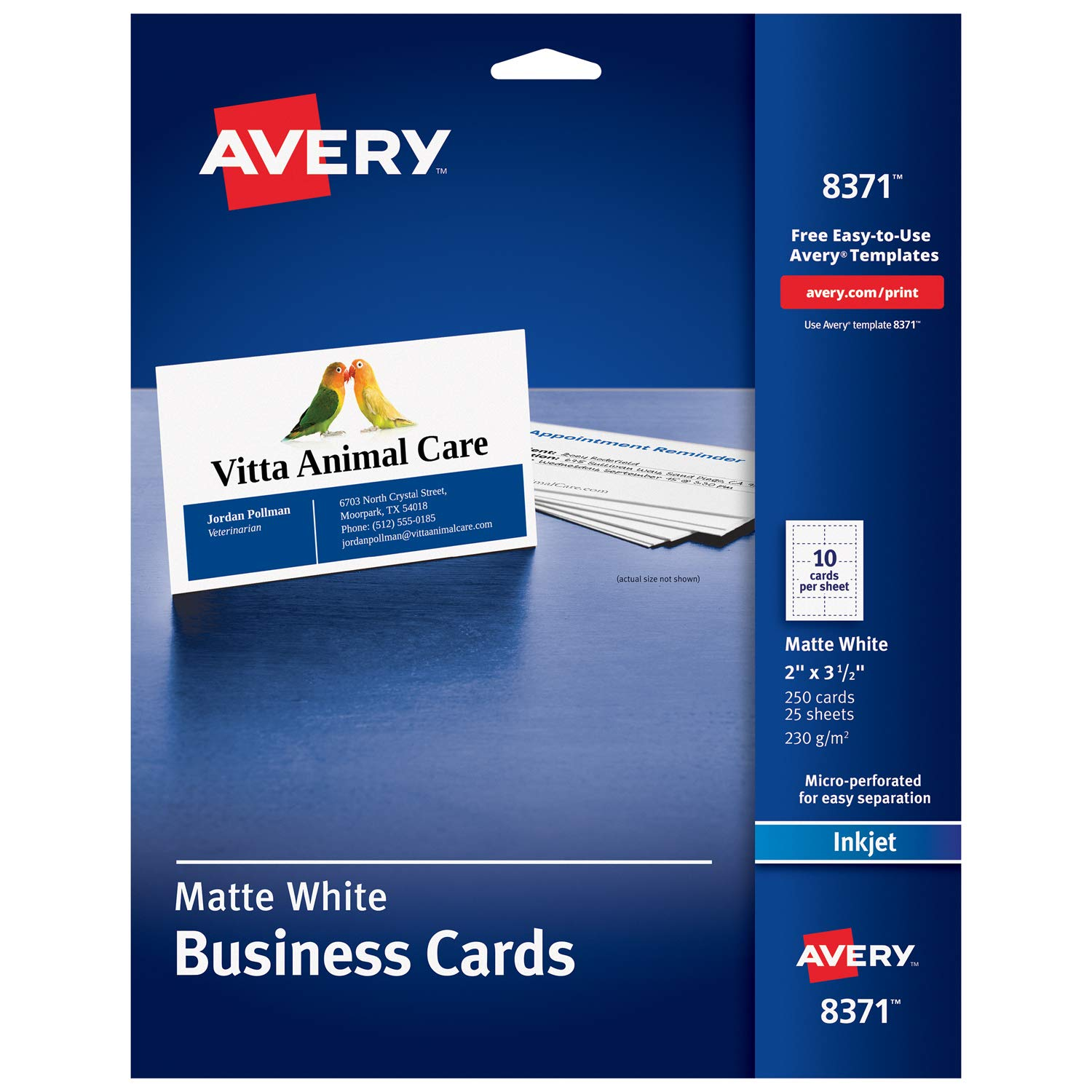 Avery 8371 250pc(s) business card - business cards (88.9 mm, 50.8 mm, 2 sheets, 250 pc(s))