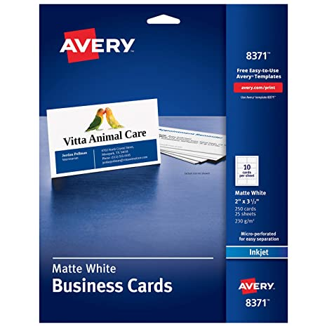 photograph regarding Printable Printers identify Avery Printable Place of work Playing cards, Inkjet Printers, 250 Playing cards, 2 x 3.5 (8371), White