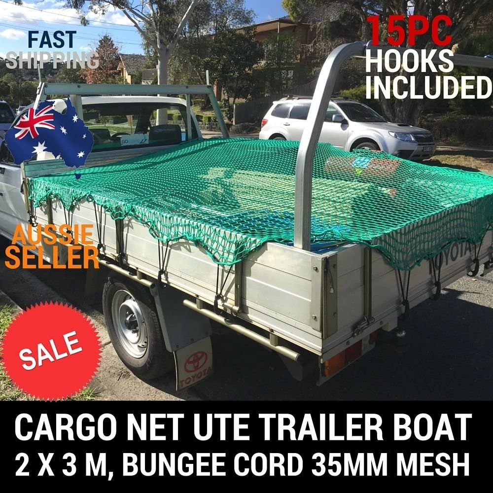 TRUCK CARGO NET 6/'X9/' UTE TRAILER NYLON 35MM MESH BUNGEE CORD FREE 15PC HOOKS