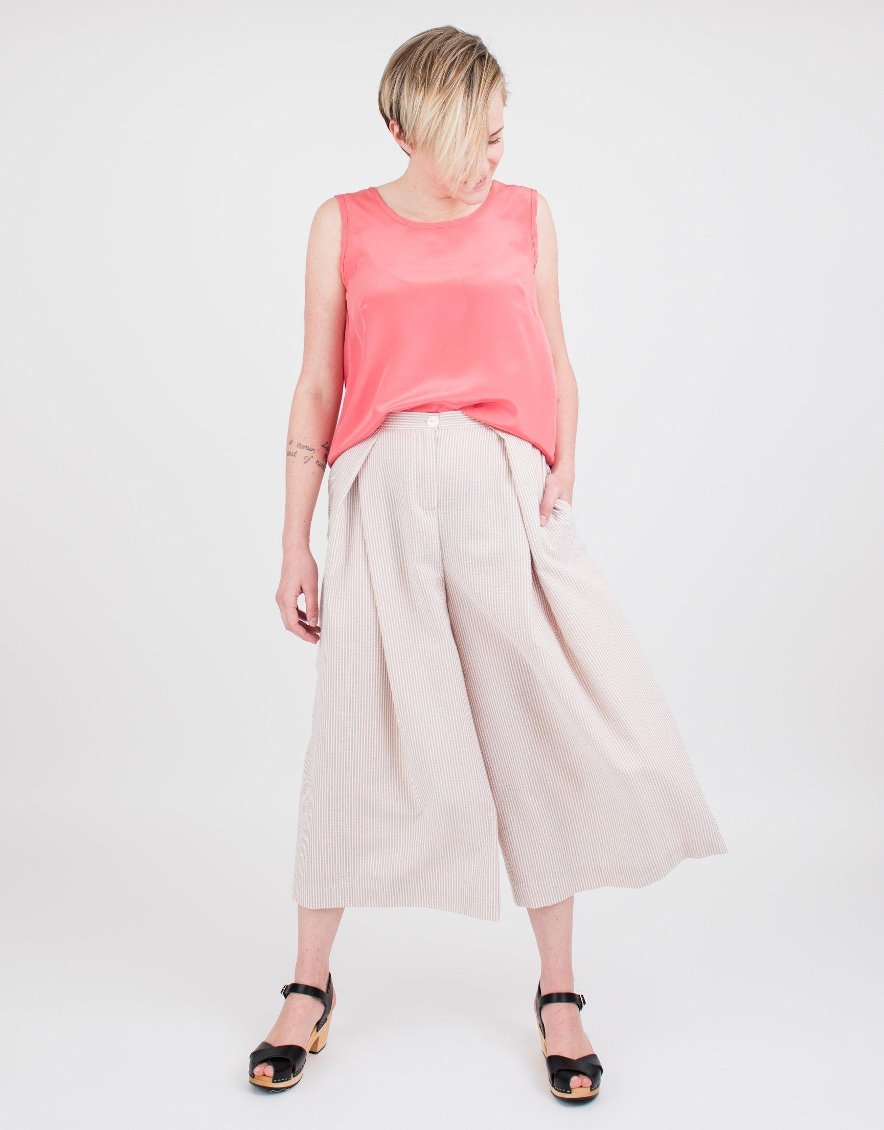 Women's Beige Stripe Pleated Culottes by BAUH designs
