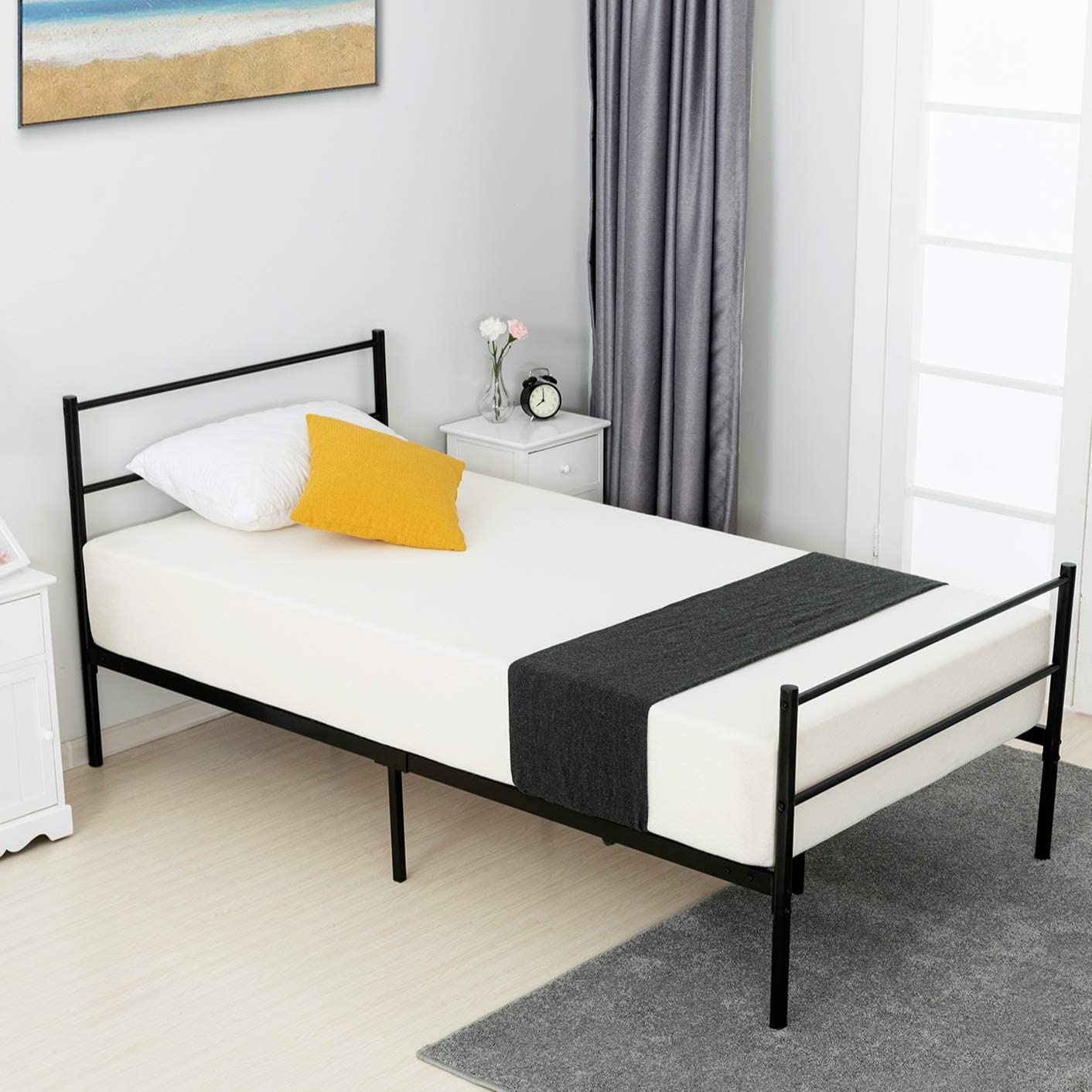 mecor Metal Twin Bed Frame, Platform Bed with 9 Stable Legs with Anti-Scratch Gaskets, with Steel Headboard Footboard, with Durable Metal Slat Support, Twin Size, Black