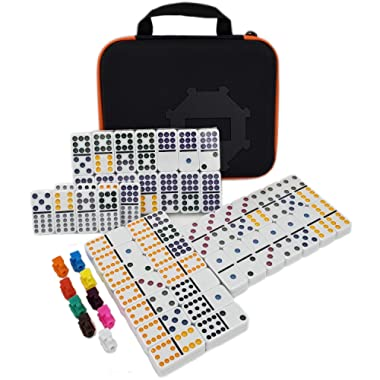 Kalolary Double 12 Color Dot Mexican Train & Chicken Dominoes Set