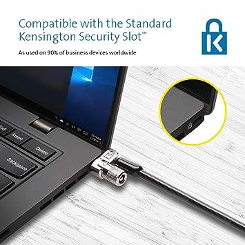 Kensington K65020EU - Candado Microsaver 2.0 con Llave para Portátil con Cable Hecho de Acero y Carbono, Cabezal Resistente de 10 mm y Tecnología de Barra T ...