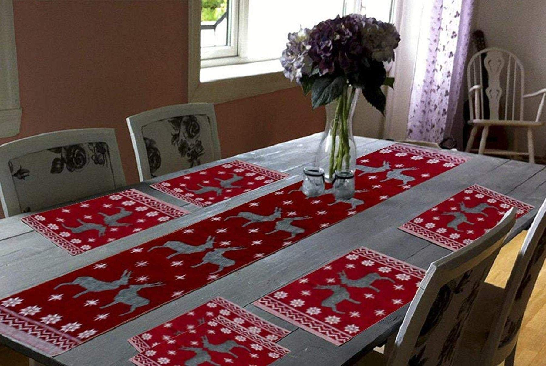 Galaxy Home Decor Cotton Dining Table With 6 Jacquard Mats With 1 Runner Maroon Set Of 7 Buy Online In Andorra At Andorra Desertcart Com Productid 104288192