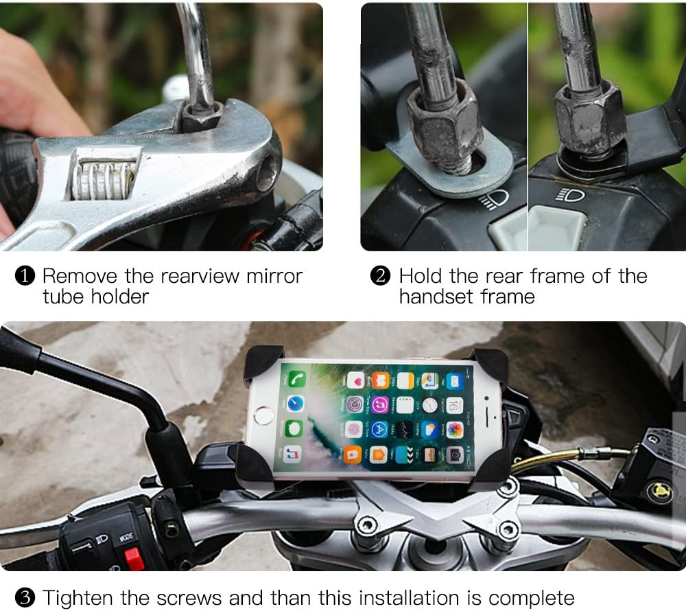 Aluminum Bicycle /& Motorcycle Phone Mount Samsung S7//S6//Note5//4 GPS Mount 4.2 to 6.5 Inch Bike Phone Holder with 360/° Rotation Adjustable for iPhone 7s 8 Plus Black