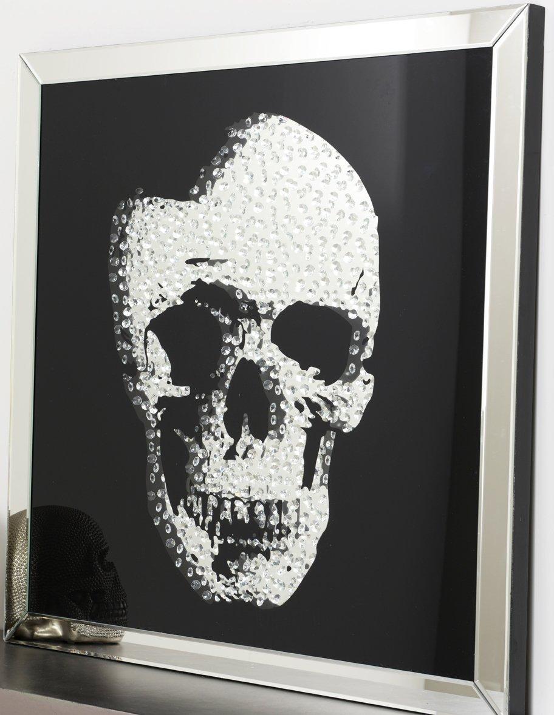 Glasbild Totenkopf 60x60cm Bild Wandbild Skull Spiegel Strass Deko