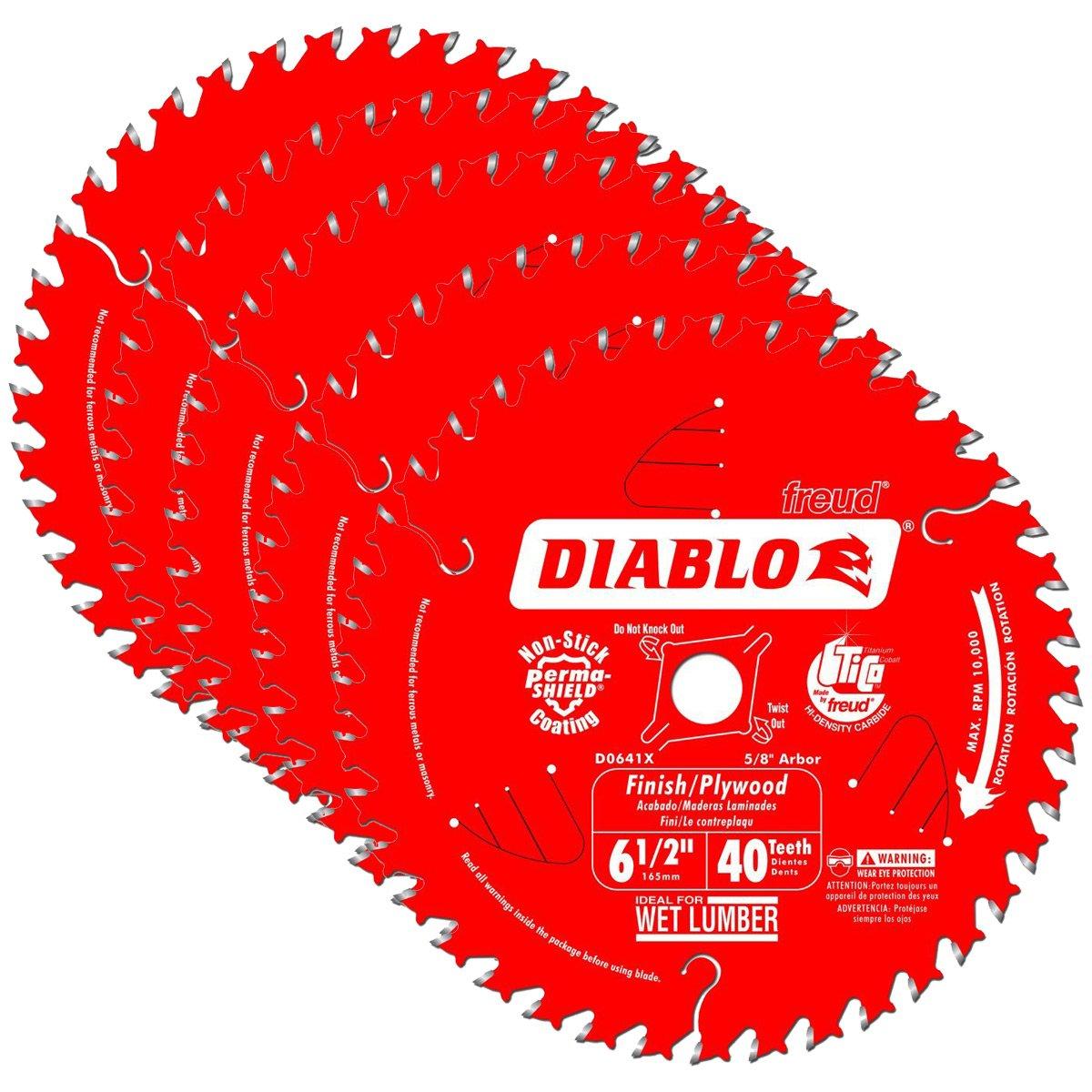 5 Hojas de Sierra DIABLO D0641X 6 1/2 x 40 ATB Acabado / Con