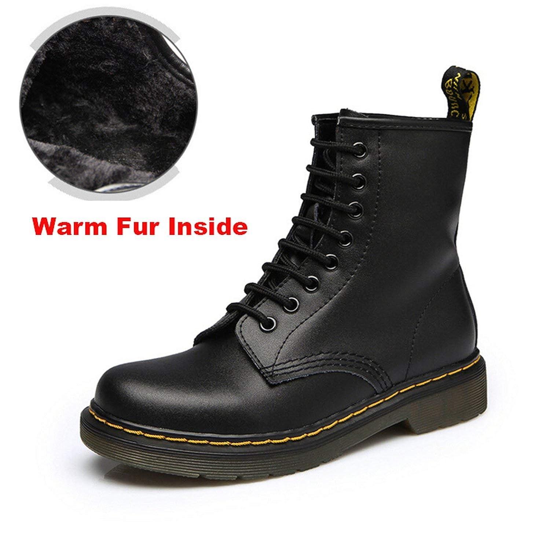 2019 Women Boots Dr Martin Boots Split Leather Shoes High Top Motorcycle Autumn Winter Shoe Woman Snow Boots ST50,Fur Black,40