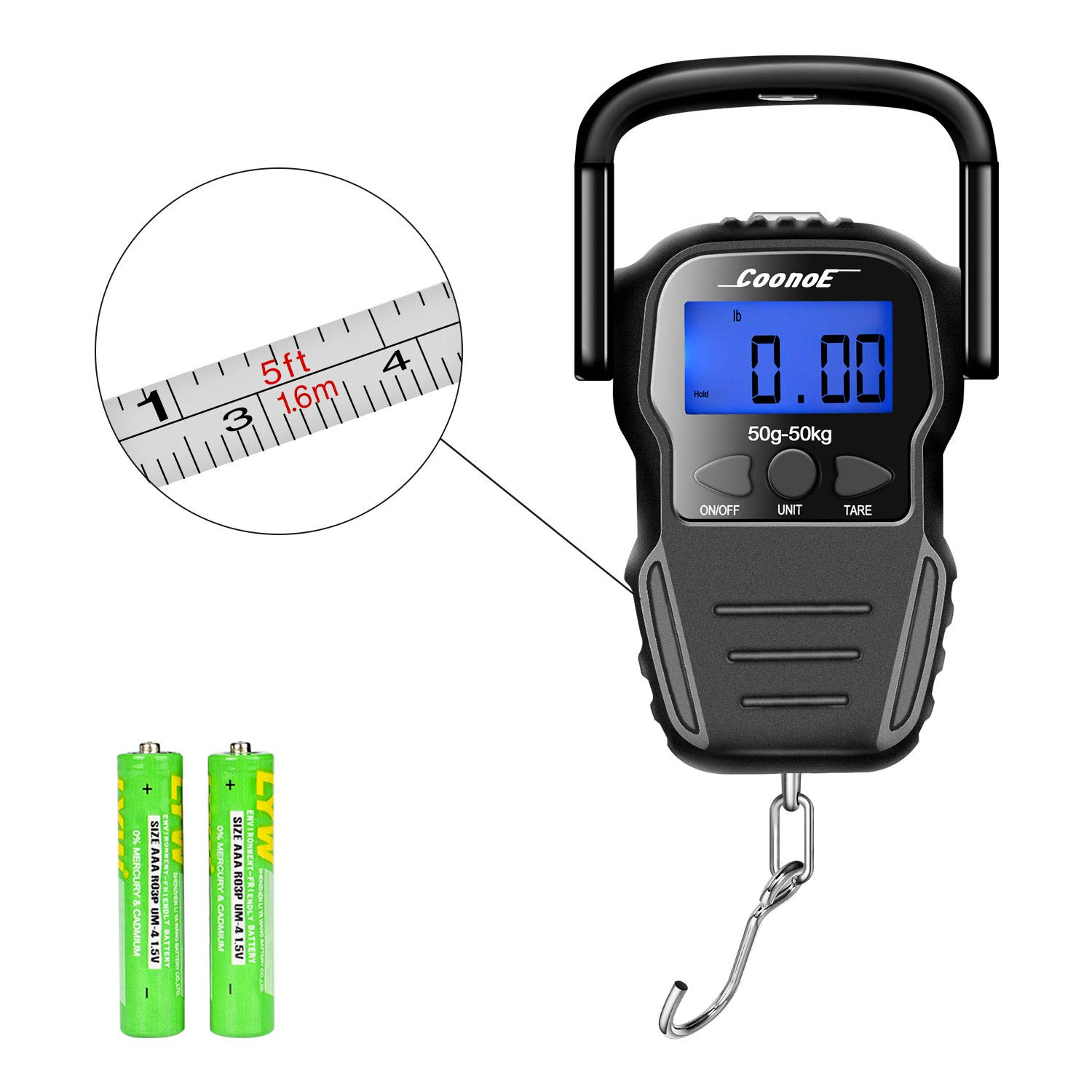 COONOE Digital Fish Scale 110lb/50kg, Portable Luggage Weight Scale, Electronic Balance Digital Hanging Hook Scale with Measuring Tape, 2 AAA Batteries Included by COONOE