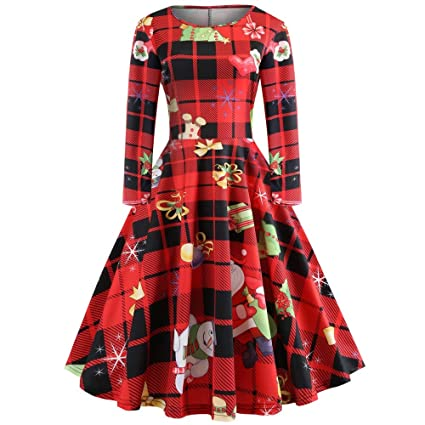 996584a685762 Amazon.com: Gobling O Neck Christmas Dress, Women's Long Sleeve Christmas  Printing Vintage Dress for Gown Evening Party (Color : Red, Size : XXL):  Home & ...