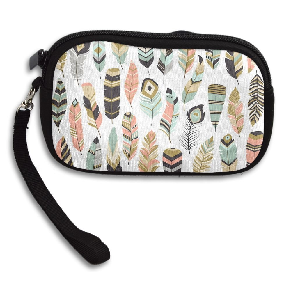 Tribal Feathers Pattern Deluxe Printing Small Purse Portable Receiving Bag