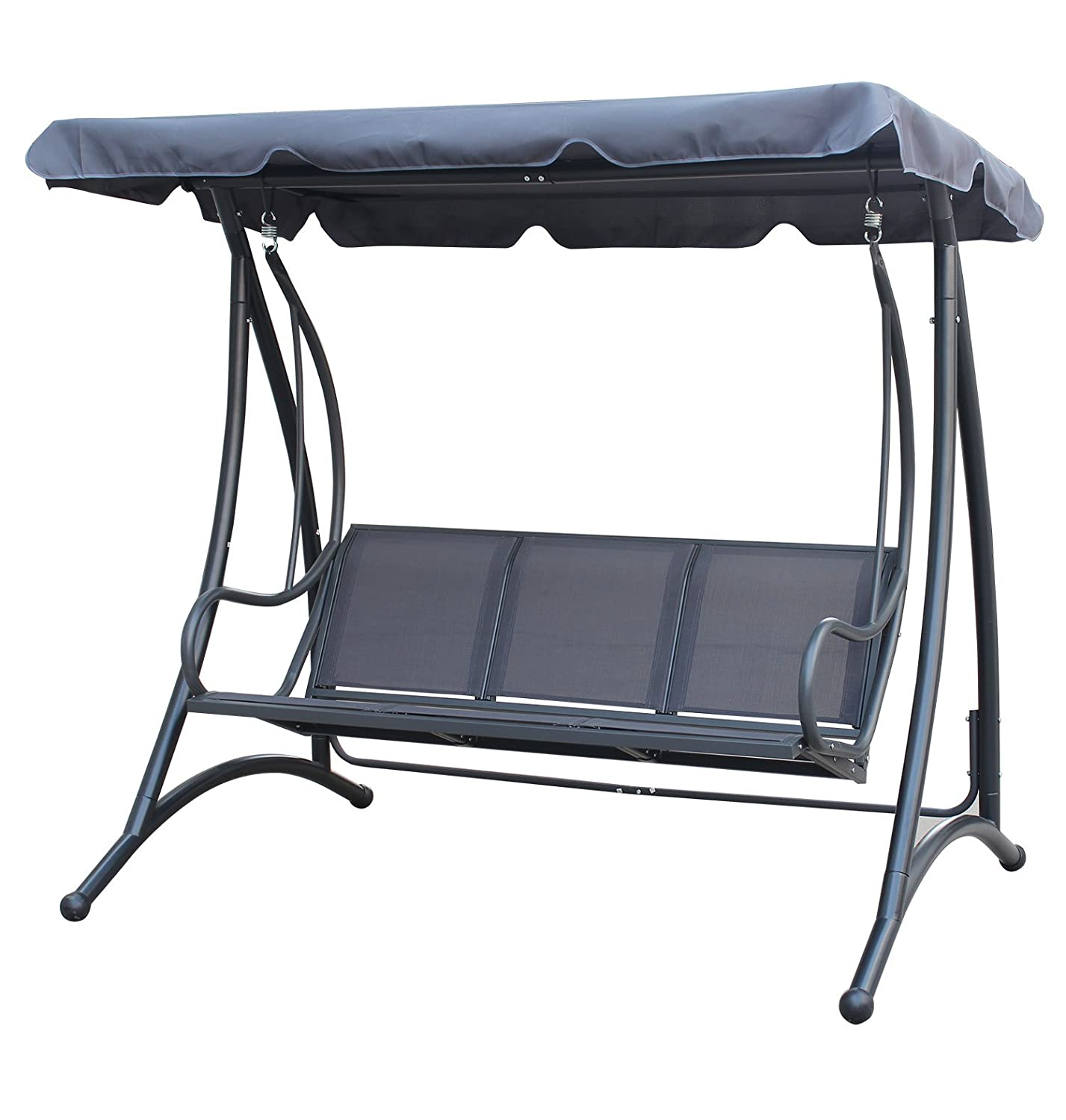 Charles Bentley Garden 3 Seater Outdoor Swing Seat Bench Chair Hammock With  Canopy  Grey: Amazon.co.uk: Garden U0026 Outdoors