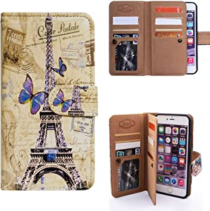 iPhone 7 Plus Wallet Case,iPhone 8 Plus Wallet Case,Bcov Eiffel Tower Postcard Multifunctional Flip Leather Case Cover with Credit Card Slot ID Card Holder Money Pocket for iPhone 7+/8+
