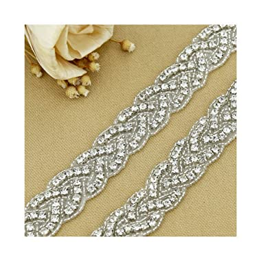 QueenDream 1 Yard Crystal Rhinestone Trim Rhinestone Applique Bridal Applique