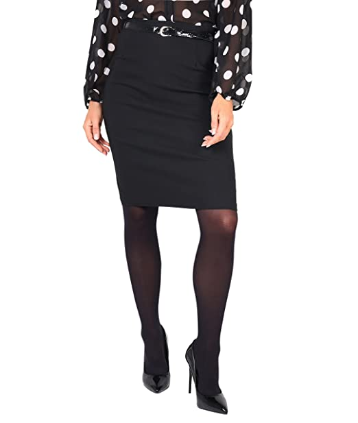 74443c2907e33d KRISP® Damen Stretch Rock mit Gürtel Pencil Skirt Schwarz  Amazon.de   Bekleidung