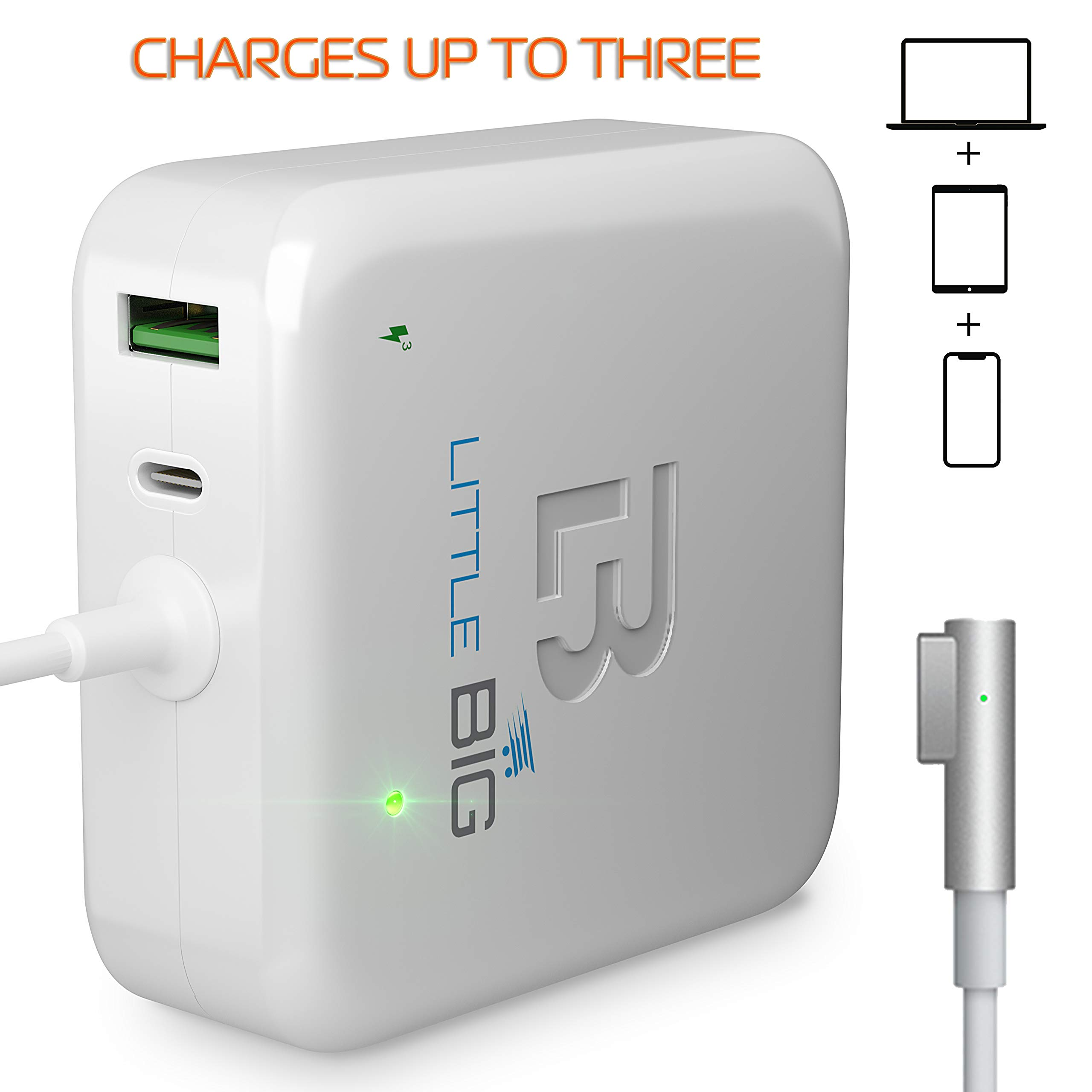 MacBook Pro Charger - 60W Power Adapter Magsafe 1 L-tip Style Connector Replacement MacBook Pro Charger for Apple MacBook Pro Retina 11 inch/13 inch White by LB Little Big