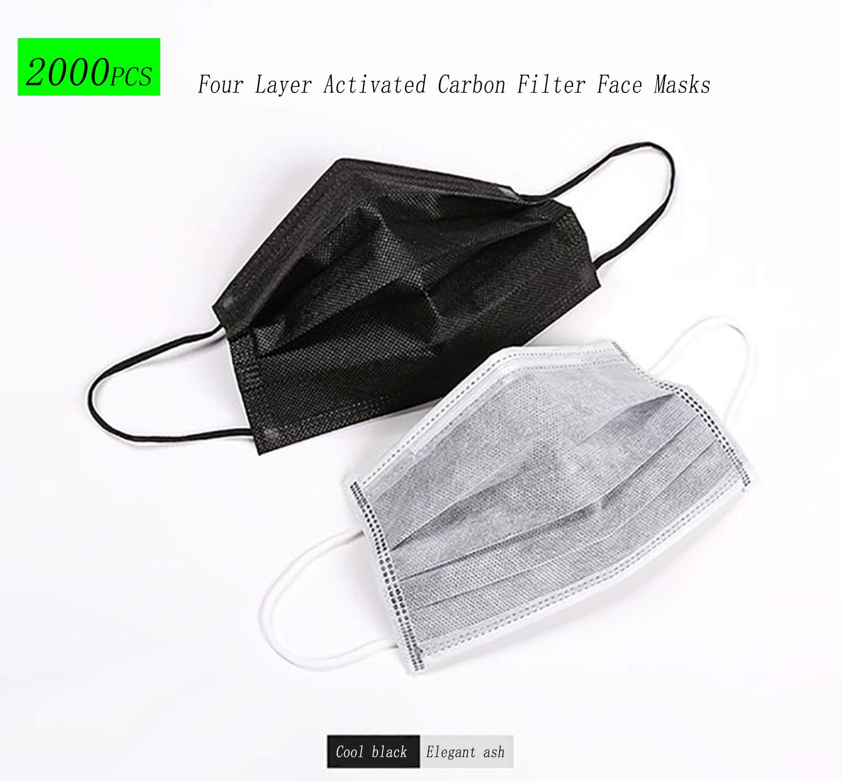 2000 pack Disposable Four-layer Activated Carbon Mask With Elastic Earrings for Pollen, Allergies, Cold, Dust, Flu, Bacteria, Breathability and Comfort