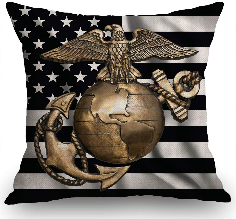 Swono USMC Black Flag Decorations Pillow Cover Marine Corps Farmhouse Decor Throw Pillow Cases Cushion Cover 18 x 18 Inch Home Decoration