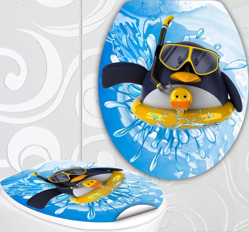 'Sedile WC adesivi pinguino con salvataggio Ring Design Schermo parete per sedile WC sticker StickerProfis