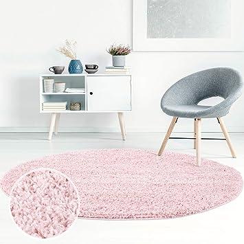 ayshaggy Shaggy Teppich Hochflor Langflor Einfarbig Uni Rosa Weich  Flauschig Wohnzimmer, Größe: 200 x 200 cm Rund