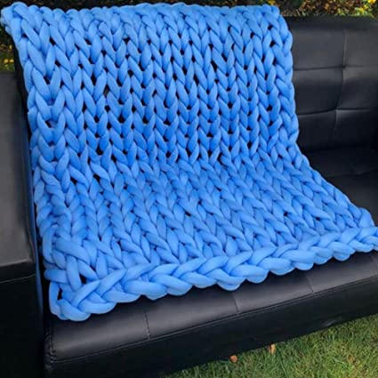 Amazon Chunky Knit Blankets Blue Super Chunky Blanket24x24inch