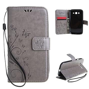 Leathlux Para Samsung I9060i Galaxy Grand Neo Plus Funda , Retro Flor Carcasa PU Cuero Tapa Cover Bookstyle Cartera TPU Case Con Correa de Muñeca con ...