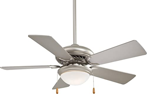 Minka-Aire F563-SP Downrod Mount, 5 White Blades Ceiling fan with 76 watts light, Brushed Steel