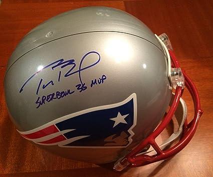 buy popular fcdb4 8b183 Amazon.com: Signed Tom Brady Helmet - Authentic Super Bowl ...