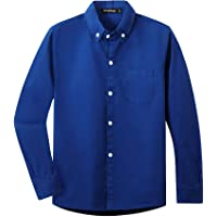 Spring&Gege Camisa de manga larga con botones de sarga de algodón para niños (3-14 años)