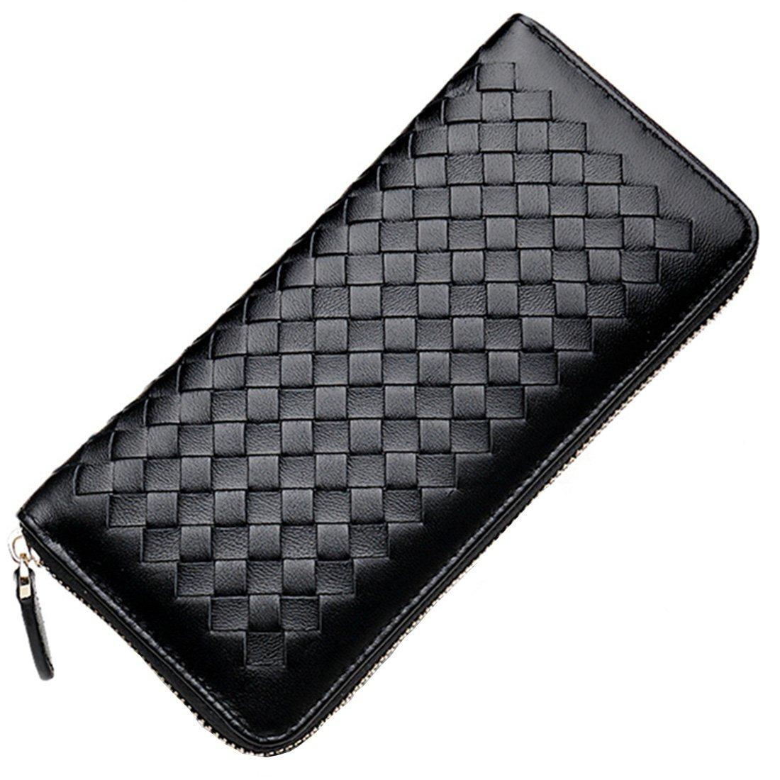 Qidell Ms.long Zip Braided Sheep-skin Clutch Wallet (Black)