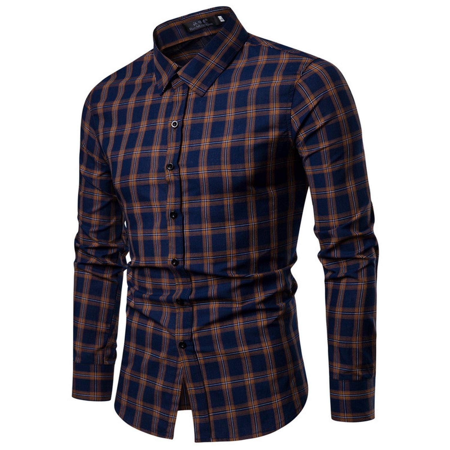 EspTmall New Top Mens Winter and Autumn Casual Long Sleeved Shirt Fashion Elegant Business Office Work Wear Blouse Males Navy M United States